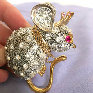 Betsey Johnson Brooch Sparkly Mouse Queen Pin